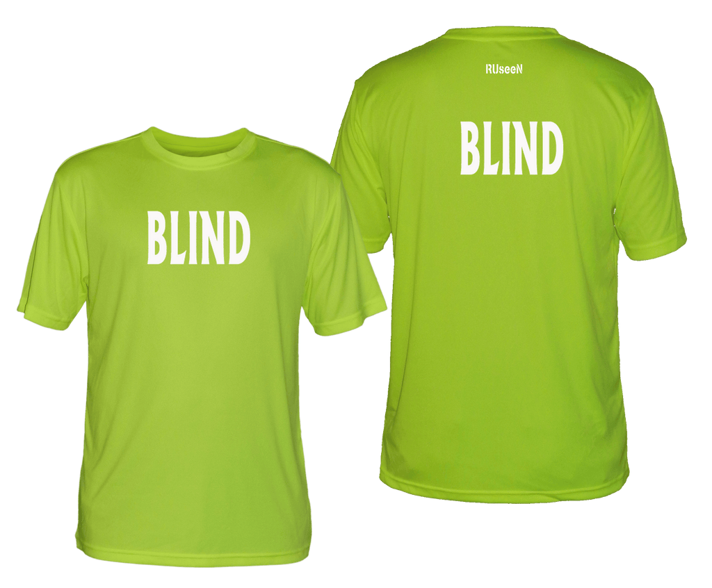 MEN'S REFLECTIVE SHORT SLEEVE SHIRT - BLIND - Front & Back - Lime Yellow