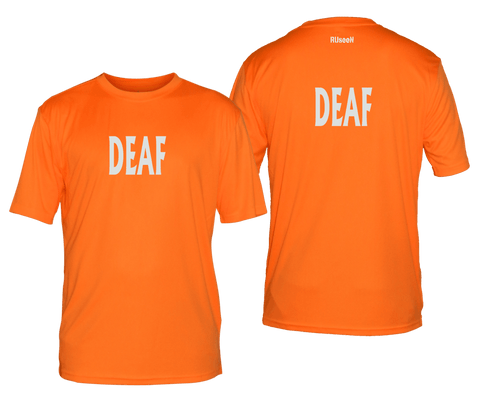 MEN'S REFLECTIVE SHORT SLEEVE SHIRT - DEAF - Front & Back - Orange