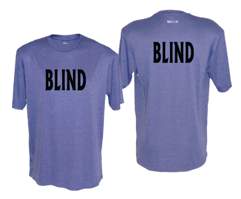 MEN'S SHORT SLEEVE SHIRT - BLIND - BLACK TEXT - Front & Back - Royal Heather
