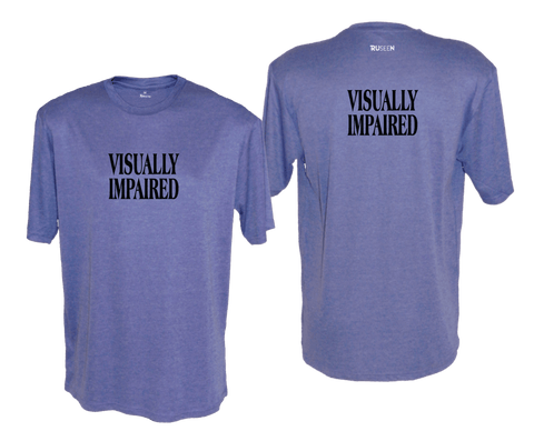 MEN'S SHORT SLEEVE SHIRT - VISUALLY IMPAIRED - BLACK TEXT - Front & Back - Royal Heather
