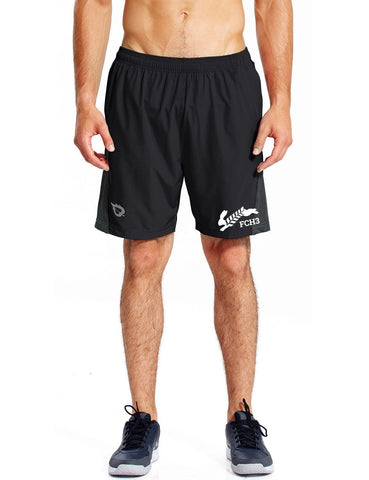 MEN'S REFLECTIVE RUNNING SHORTS - FLOUR CITY FCH3 - FRONT - BLACK - DESIGN 1