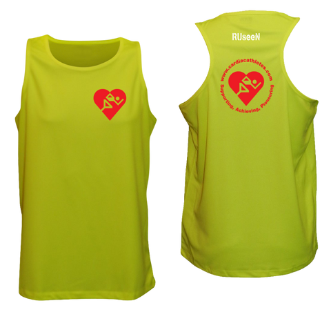 MEN'S TANK TOP - CARDIAC ATHLETE .ORG - RED LOGOS - FRONT & BACK - LIME YELLOW