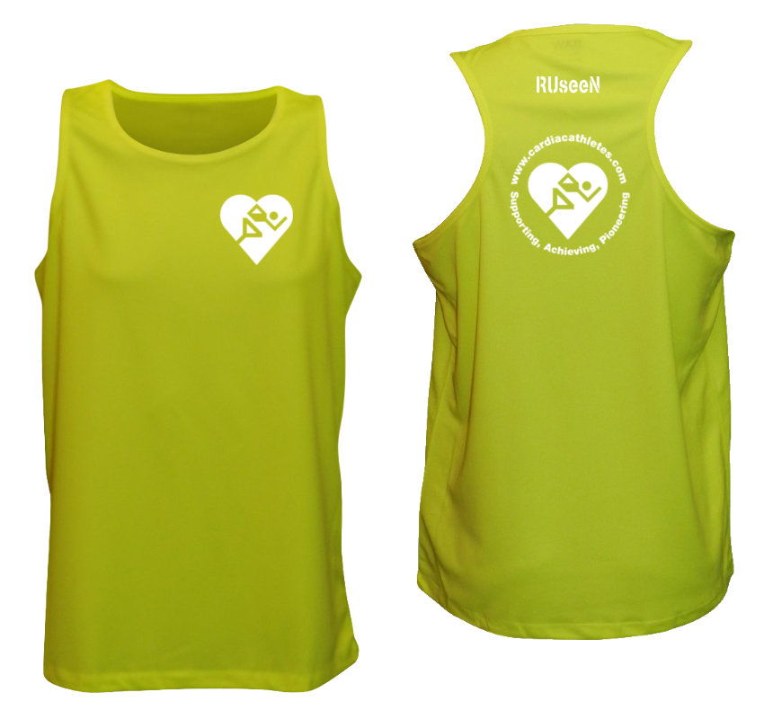 MEN'S REFLECTIVE TANK TOP - CARDIAC ATHLETE .ORG - FRONT & BACK - LIME YELLOW
