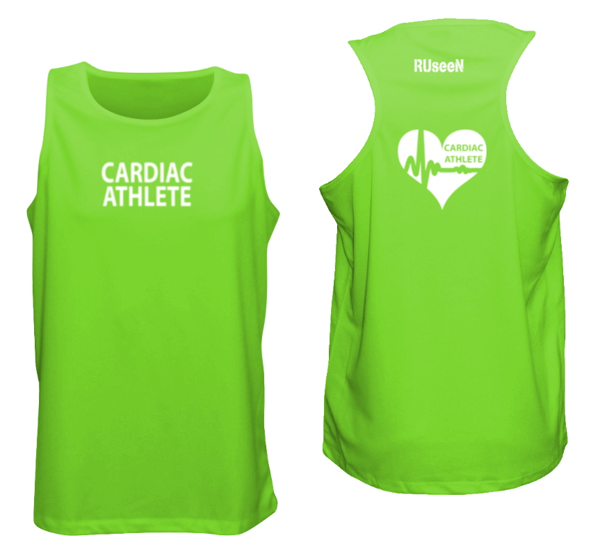 MEN'S TANK TOP - CARDIAC ATHLETE - REFLECTIVE - Front & Back - Neon Green