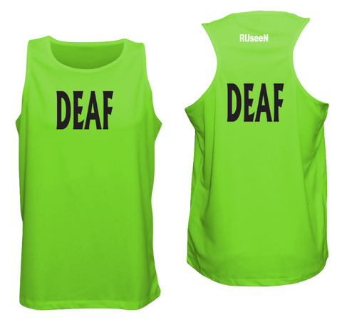 MEN'S TANK TOP - DEAF - BLACK TEXT - Front & Back - Neon Green