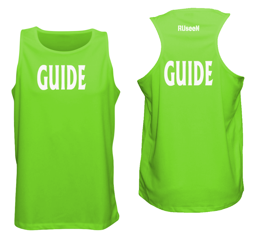 MEN'S REFLECTIVE TANK TOP - GUIDE - Front & Back - Neon Green