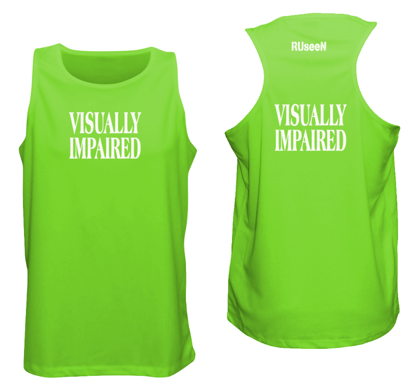 MEN'S REFLECTIVE TANK TOP - VISUALLY IMPAIRED - Front & Back - Neon Green