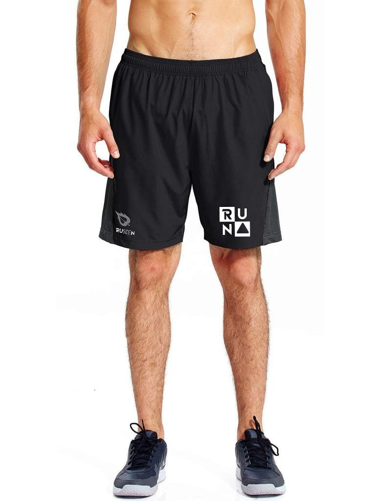 MEN'S REFLECTIVE RUNNING SHORTS – RUN SQUARED - Front – Black