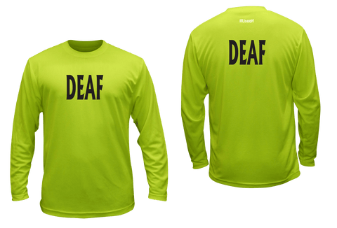 UNISEX LONG SLEEVE SHIRT - DEAF - BLACK TEXT - Front & Back - Lime Yellow