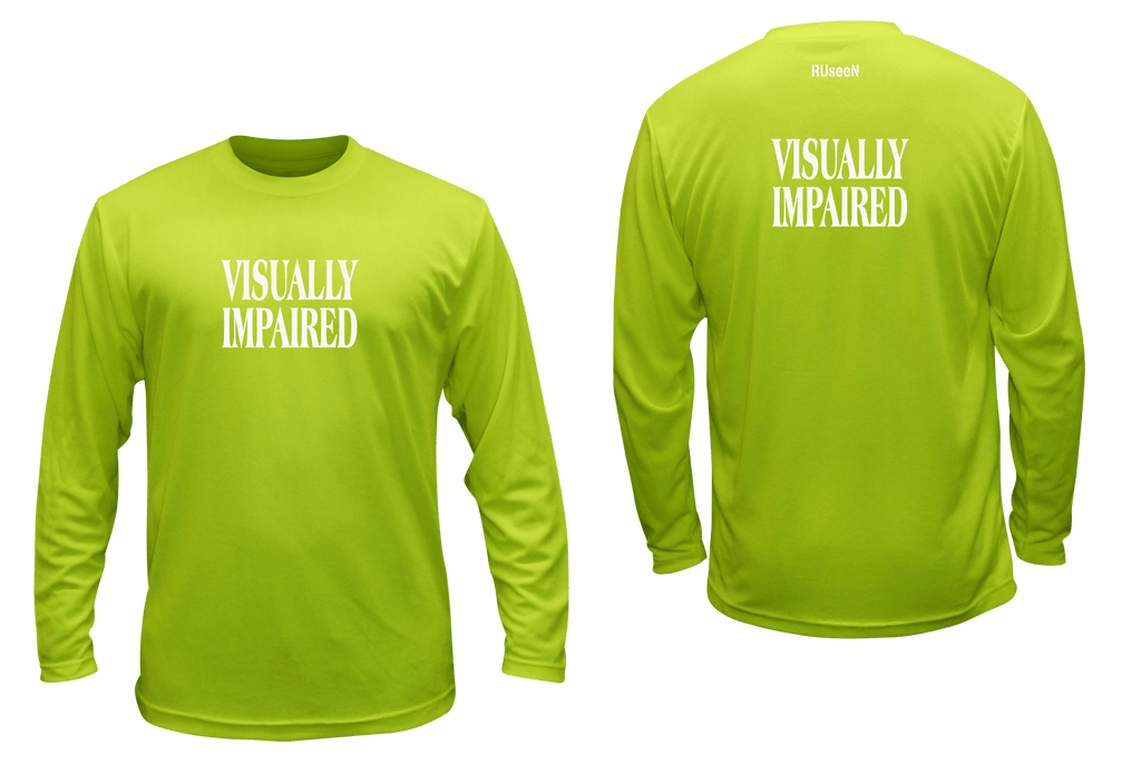 UNISEX REFLECTIVE LONG SLEEVE SHIRT - VISUALLY IMPAIRED - Front & Back - Lime Yellow