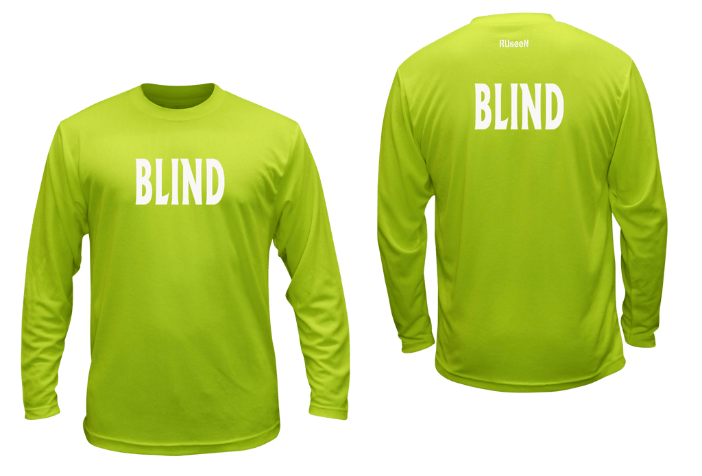 UNISEX REFLECTIVE LONG SLEEVE SHIRT - BLIND - Front & Back - Lime Yellow