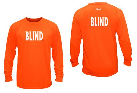 UNISEX REFLECTIVE LONG SLEEVE SHIRT - BLIND - Front & Back - Orange