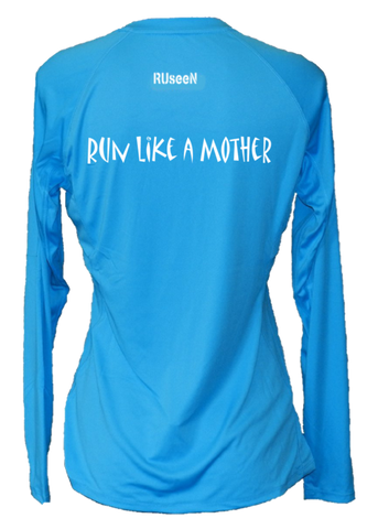 WOMEN'S REFLECTIVE LONG SLEEVE CREW NECK – RUN LIKE A MOTHER – Back – Bright Blue