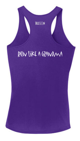 Women's Reflective Tank Top - Run Like a Grandma - Dark Purple Back