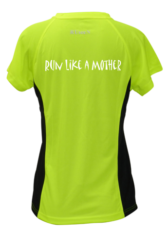 WOMEN'S REFLECTIVE SHORT SLEEVE SHIRT - RUN LIKE A MOTHER - Front - Lime with Black Sides