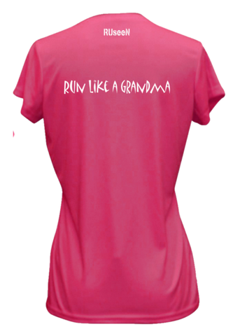 WOMEN'S REFLECTIVE SHORT SLEEVE SHIRT – RUN LIKE A GRANDMA - Back – Neon Pink