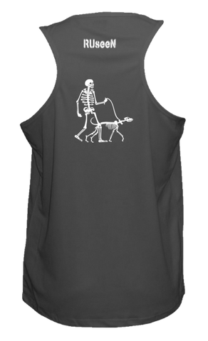 Men's Reflective Tank - Skeleton Walking Skeleton Dog - Back - Black