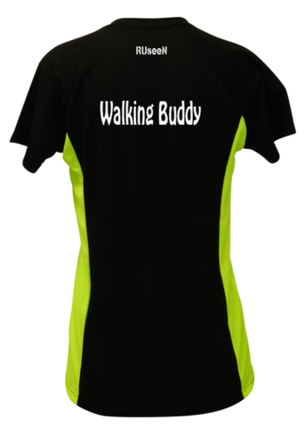 WOMEN'S REFLECTIVE SHORT SLEEVE SHIRT –  WALKING BUDDY - Back - Black & Lime