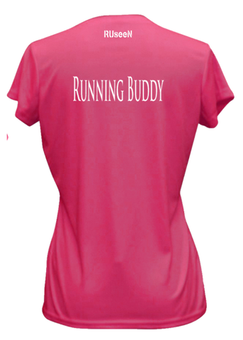 WOMEN'S REFLECTIVE SHORT SLEEVE SHIRT –  RUNNING BUDDY - Back - Neon Pink