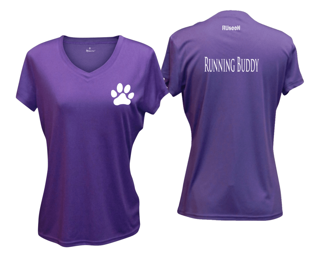 WOMEN'S REFLECTIVE SHORT SLEEVE SHIRT –  RUNNING BUDDY - Front & Back –  Dark Purple