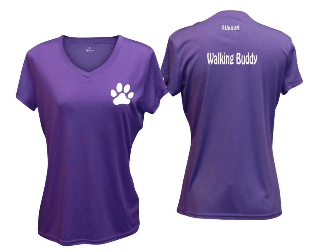 WOMEN'S REFLECTIVE SHORT SLEEVE SHIRT –  WALKING BUDDY - Front & Back –  Dark Purple