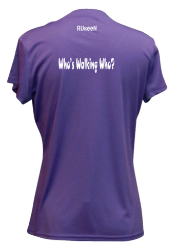 WOMEN'S REFLECTIVE SHORT SLEEVE SHIRT –  WHO'S WALKING WHO? - Back - Dark Purple