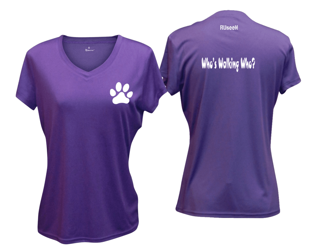 WOMEN'S REFLECTIVE SHORT SLEEVE SHIRT –  WHO'S WALKING WHO? - Front & Back – Dark Purple