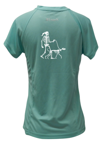 WOMEN'S REFLECTIVE SHORT SLEEVE SHIRT –  SKELETON WALKING SKELETON DOG - Back - Sea Green