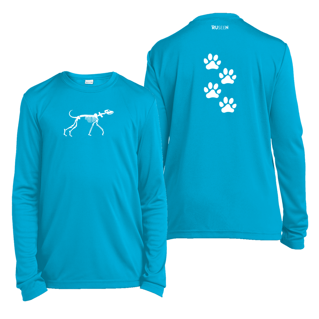 Kids Reflective Long Sleeve Shirt - Paw Prints - Atomic Blue