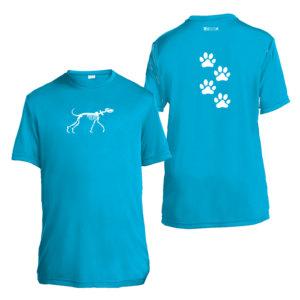 Kids Reflective Short Sleeve Shirt - Paw Prints - Atomic Blue