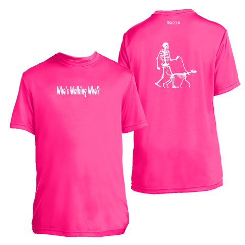 Kids Reflective Short Sleeve Shirt - Who's Walking Who - Dog Walker - Neon Pink
