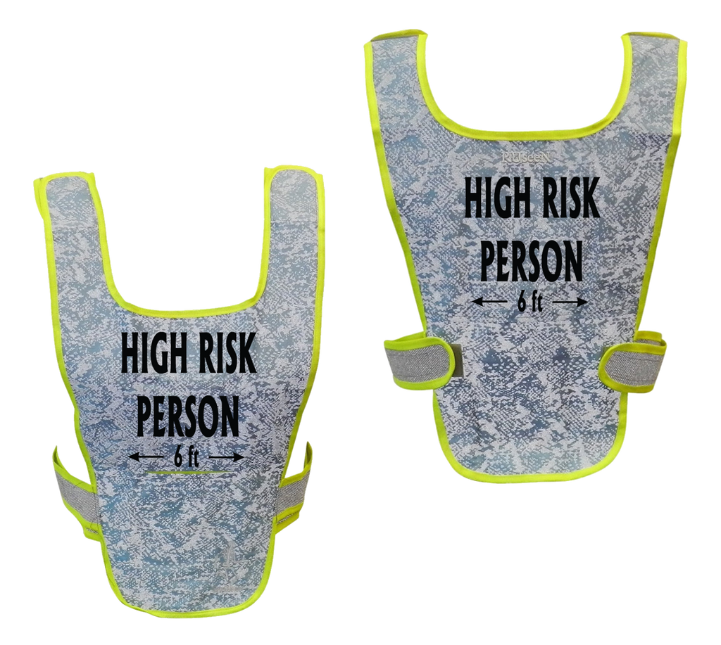 Reflective Running Vest - High Risk Person 6 ft - Light Blue