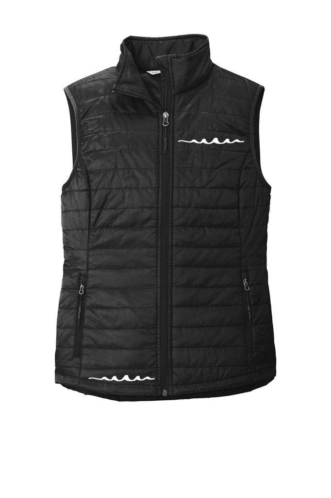 Women's Reflective Puffy Vest - Deep Black - Front