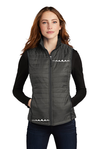 Women's Reflective Puffy Vest - Sterling Gray - Modelled