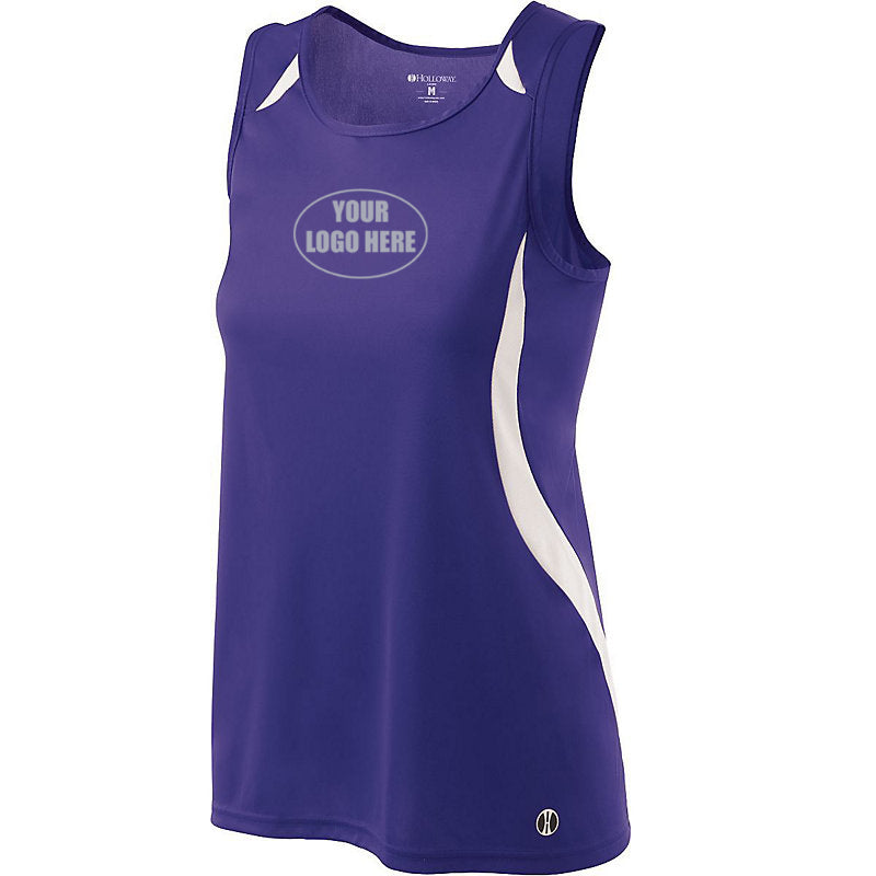 LADIES REFLECTIVE CUSTOM TRACK SINGLET - Front – Purple