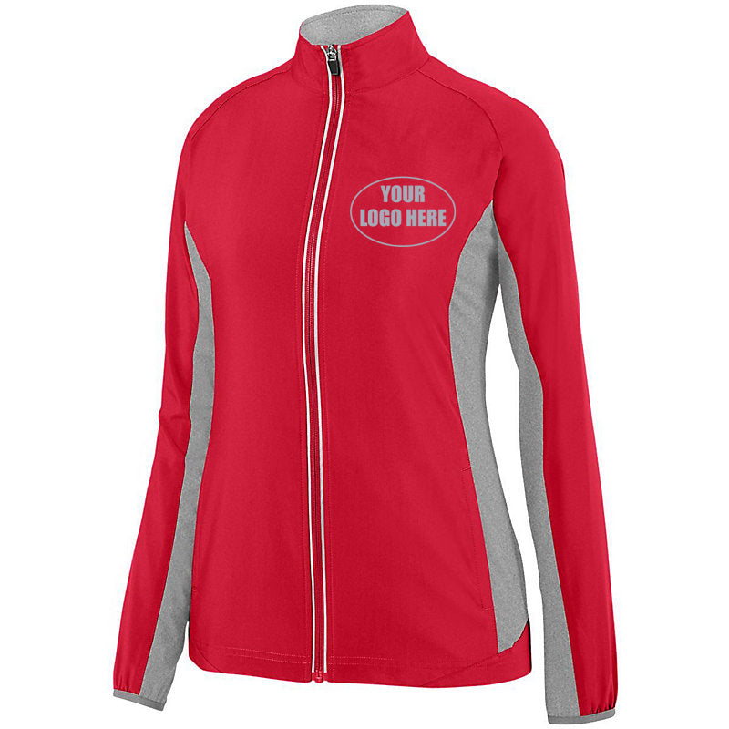LADIES CUSTOM PREMIUM REFLECTIVE TRACK JACKET - Front – Red