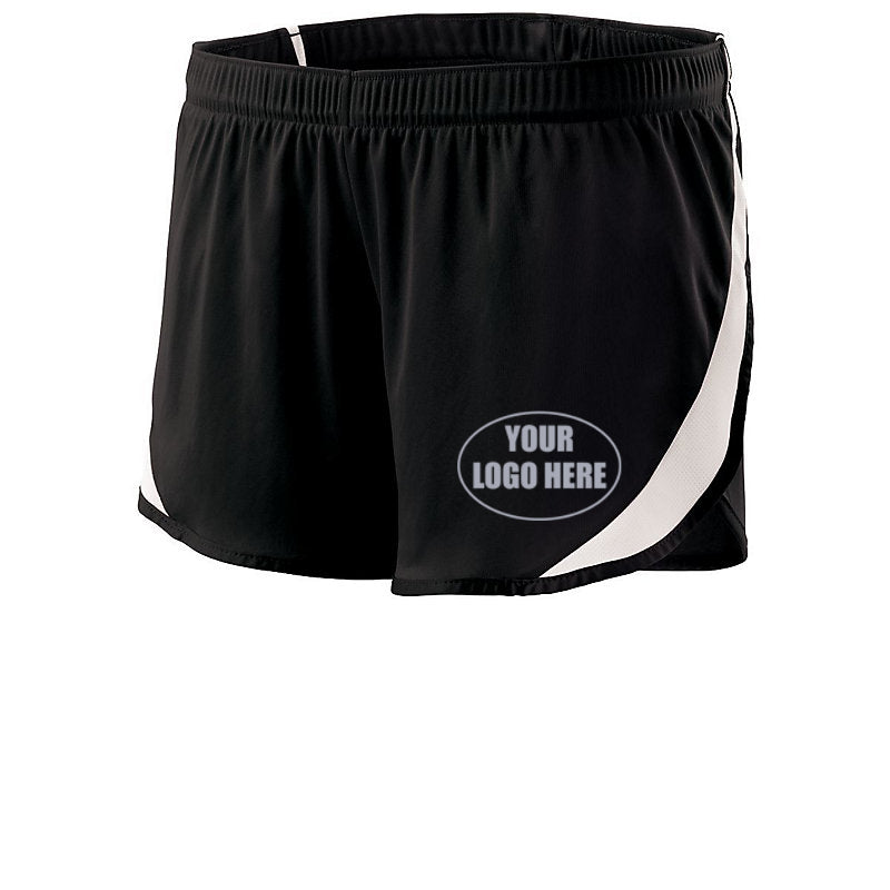 LADIES CUSTOM REFLECTIVE TRACK SHORTS - Front – Black