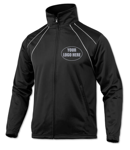 MENS CUSTOM REFLECTIVE TRACK JACKET - Front – Black/White