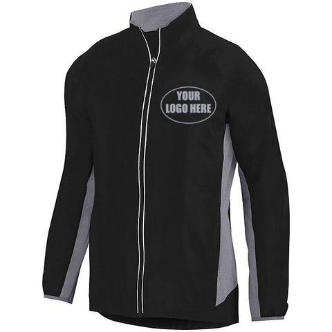MENS CUSTOM PREMIUM REFLECTIVE TRACK JACKET - Front – Black