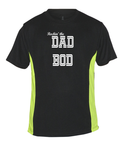 Men's Reflective Short Sleeve Shirt - Rockin' The Dad Bod - Front - Black with Lime Sides