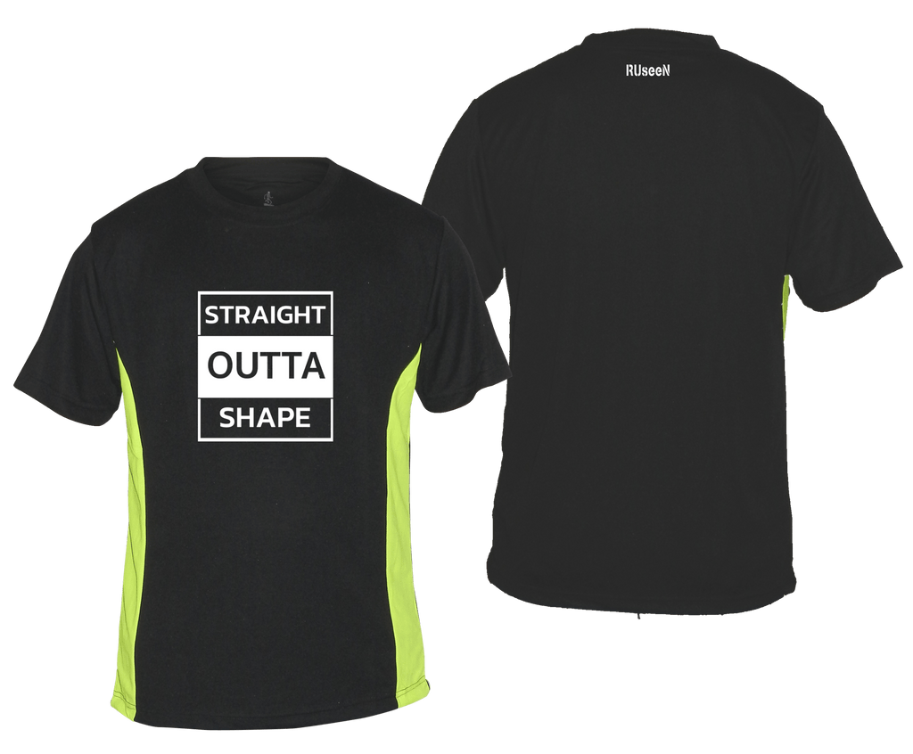 MEN'S REFLECTIVE SHORT SLEEVED SHIRT –  STRAIGHT OUTTA SHAPE - Front & Back – Black with Lime Sides