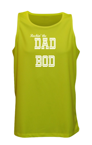Men's Reflective Tank Top - Rockin' The Dad Bod - Front - Lime Yellow
