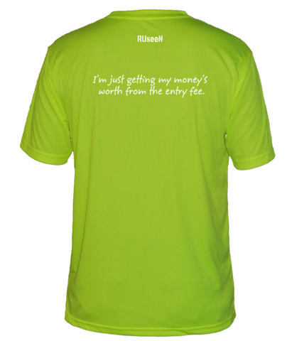 MEN'S REFLECTIVE SHORT SLEEVE SHIRT – GETTING MY MONEY'S WORTH – Back – Lime Yellow