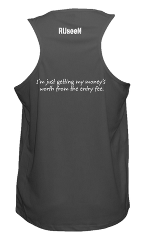 MEN'S REFLECTIVE TANK TOP – GETTING MY MONEY'S WORTH – Back – Black