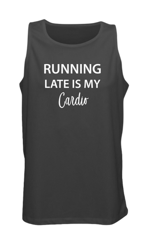 MEN'S REFLECTIVE TANK TOP – RUNNING LATE IS MY CARDIO - Front - Black