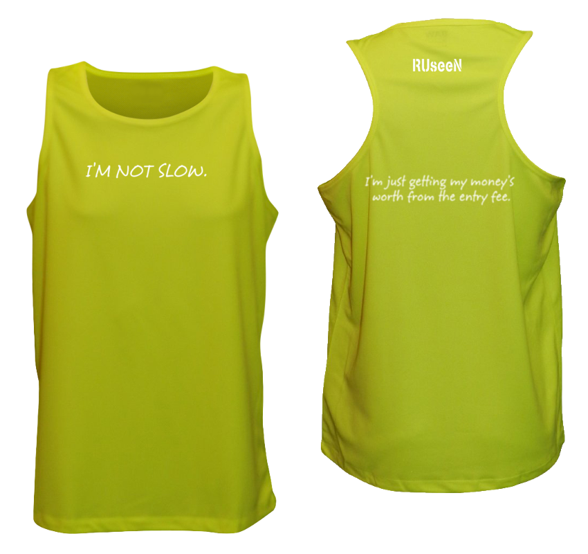MEN'S REFLECTIVE TANK TOP – GETTING MY MONEY'S WORTH – Front & Back –Lime Yellow