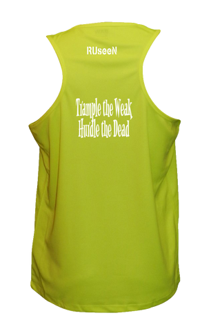 Men's Reflective Tank - Trample the Weak - Back - Lime Yellow