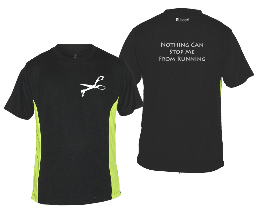 MEN'S REFLECTIVE SHORT SLEEVE SHIRT –  NOTHING CAN STOP ME - Front & Back – Black & Lime