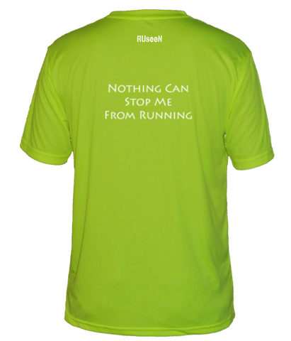 MEN'S REFLECTIVE SHORT SLEEVE SHIRT –  NOTHING CAN STOP ME - Back – Lime Yellow