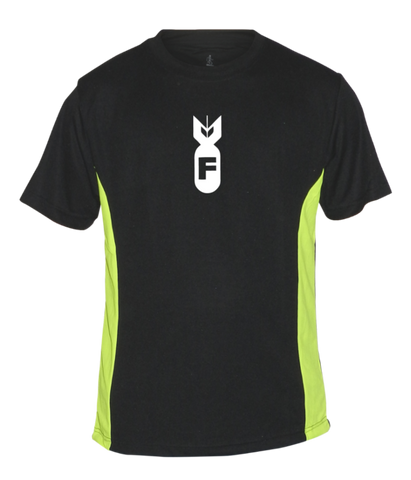 Men's Reflective Short Sleeve Shirt - F Bomb - Front - Black & Lime